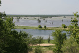 Same view on June 29th - The Trinity river is flooding up to the back side of the lakes