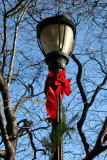 Garden Lamp Post with Holiday Ribbon & Bow