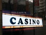 CASINO Sign  with Window Reflection of LaGuardia Place Residences