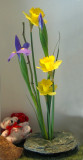 Daffodils & Iris Ikebana - Access Artisans Window Display