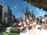 Florist Shop Window Reflections - Peach Tree Blossoms, Jefferson Market Courthouse & Empire State Building