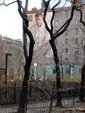 GAP Billboard Framed by Two Locust Trees on West Houston Street