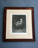 Entertaining a Baby - Neo Renaissance Etching with Arts & Craft Frame