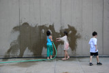 Painting a Garden Wall with the Garden Hose