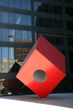 Red Cube Sculpture & Ground Zero Window Reflection