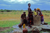 Somali women at water well
