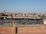 on the roof of the Hotel Ali looking down at the Djemaa el-Fna