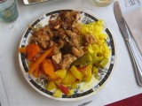 ate lunch at Restaurant Poulet express, chicken rice veggies fanta 40 Dh