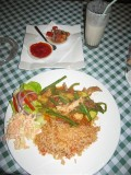 spicey chicken stew with mexician rice and salsa 40D, strawberry smoothie 15D, Tiramasu 15D