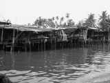 Flat Bottom Klong Fishing Boats Raised Out of the Water at Low Tide