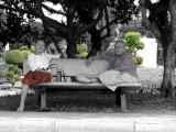 Two Elderly Ladies Sheltering Enjoying The Shade at Bang Sai
