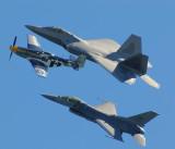 F-22 Raptor, P-51 Mustang, F-16 Fighting Falcon