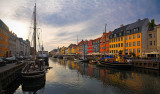 Nyhavn against the light sunset