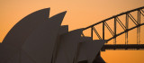 Opera House Sails and Harbour Bridge at sunset