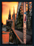 Lamppost on Cologne Hohenzollern Bridge