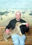 Josh with Lion Cub at MGM Grand Lion Habitat