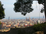From above Park Guell with Sagrada Familia the central and dominant feature
