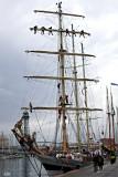 a Polish tallship at the quayside