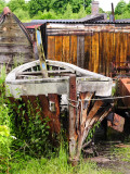 Farewell - canal boat returning to nature and showing composite construction