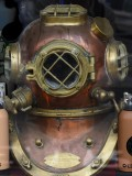 historic divers helmet in Falmouth diving shop, had to replace my sandals grrr, how does 1 vanish?