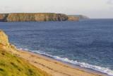 Gunwalloe beach with Pedngwinian and Predannack Heads beyond