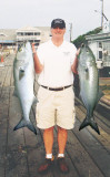 Frank's Bluefish - We heard that Frank's bluefish were cut up for bait....a shame...at least he looks good holding these babies!