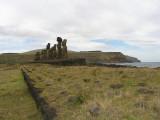 further along the jagged east coast sits Ahu Tongariki.....