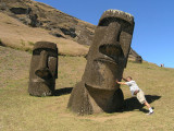 even with bodies partially buried the Moai are huge.....