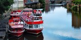 Red boats up close, York