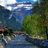 Stream and mountain, Les Diablerets