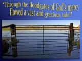 'Through the floodgates...' slide from the Muchelney Floods series