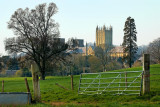 Gate and parkland, Wells Cathedral