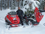 Eric With His Wife Tammy's 600 Polaris On Left And His 900 On Right