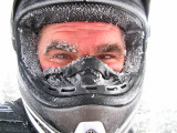 Eric Lane Sports His New  Frosted Look After Riding In White Out..