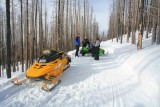Snowmobilers Rest After Pulling Green Artic Cat Out