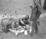 Bob and Peggy Titus ( Laying) And Nancy At Messenger Flats Cooking In Bed