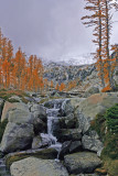 Falls Between Two Lakes In The Enchantments  ( With Storm Approaching)