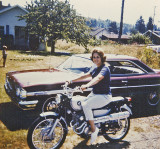 Mom On  1966 Honda  160cc Scrambler With Her New Lincense