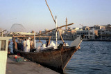Dhow moored alongside the Creek in Dubai
