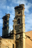Plasencia, Extremadura. Church tower with storks' nests