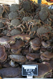 Crabs for sale at a weekly market in Normandy