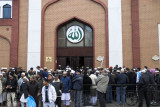 Leaving after prayers, East London Mosque