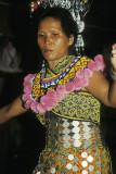 Dyak dancer in a longhouse, Sarawak