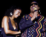 Aisha Morris and her father Stevie Wonder