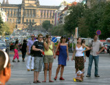 A Family watching a performance in the Vaclavske Namesti