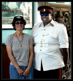 Phyllis and the Chief of Security at the Bahamian Parliament