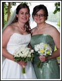 Backlighted Bride and her Sister