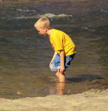 Wading in Falls Park, Pendleton, Indiana