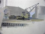 Målning i konferensrummet på taket av P13 -14 visar kranen Tuff-tuff
