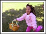 Anna running to find eggs